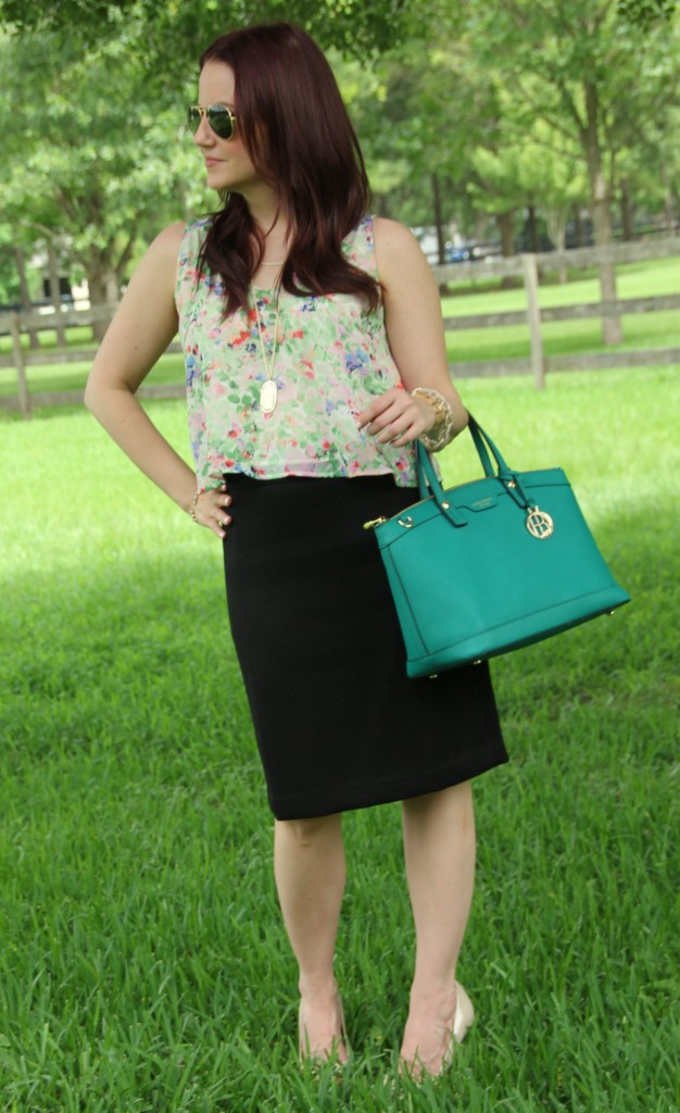 Floral Blouse and Pencil Skirt | Lady in Violet