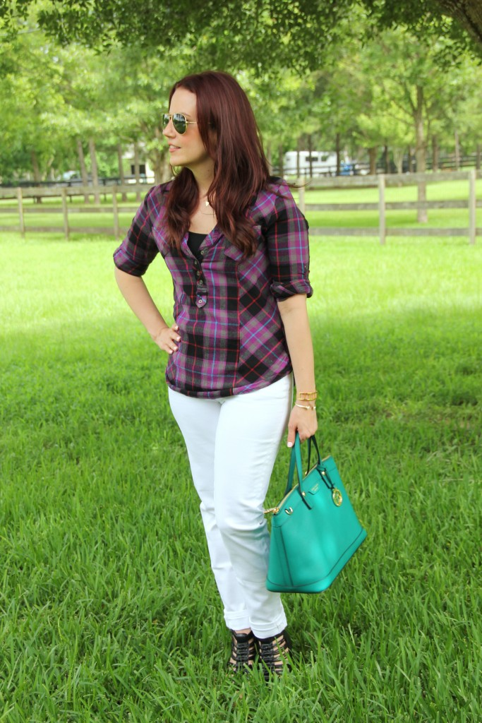 Purple Plaid Shirt with White Denim | Lady in Violet