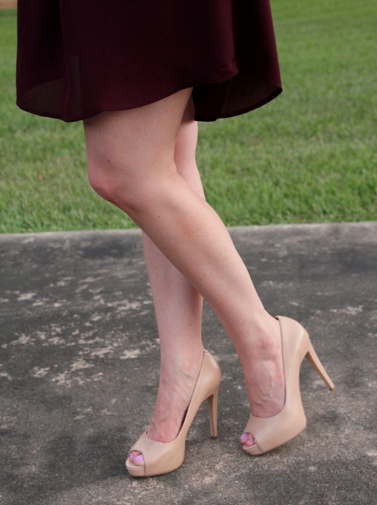 Cute Nude Peep Toe Pumps | Lady in Violet
