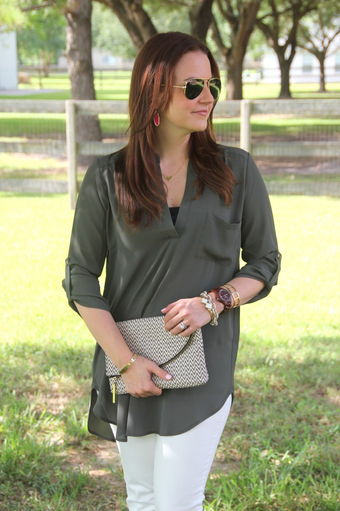 Olive Tunic with Gold Jewelry | Lady in Violet