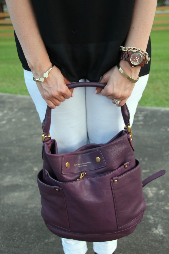 Wood Watch and Gold Bracelets with Marc Jacobs Purse | Lady in Violet  #jordwatch