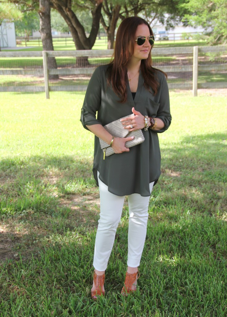 Tunic and Skinny Jeans with Wedges | Lady in Violet