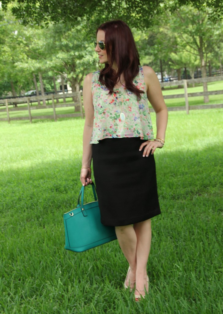 Floral Tank and Pencil Skirt | Lady in Violet