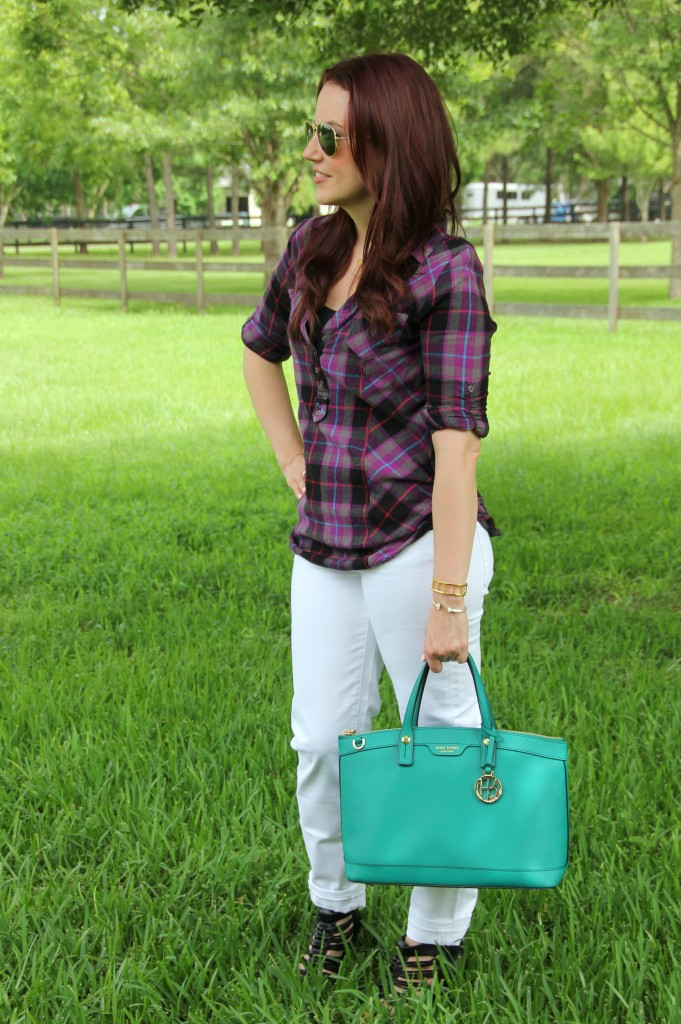 Plaid Shirt Outfit Idea | Lady in Violet