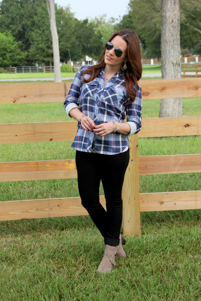 Fall Outfit in Plaid shirt and Taupe Booties | Lady in Violet