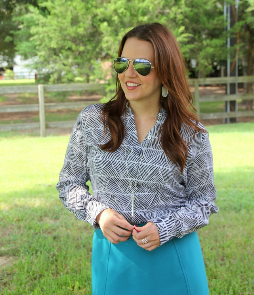 Foxcroft Patterned Blouse for Work | Lady in Violet