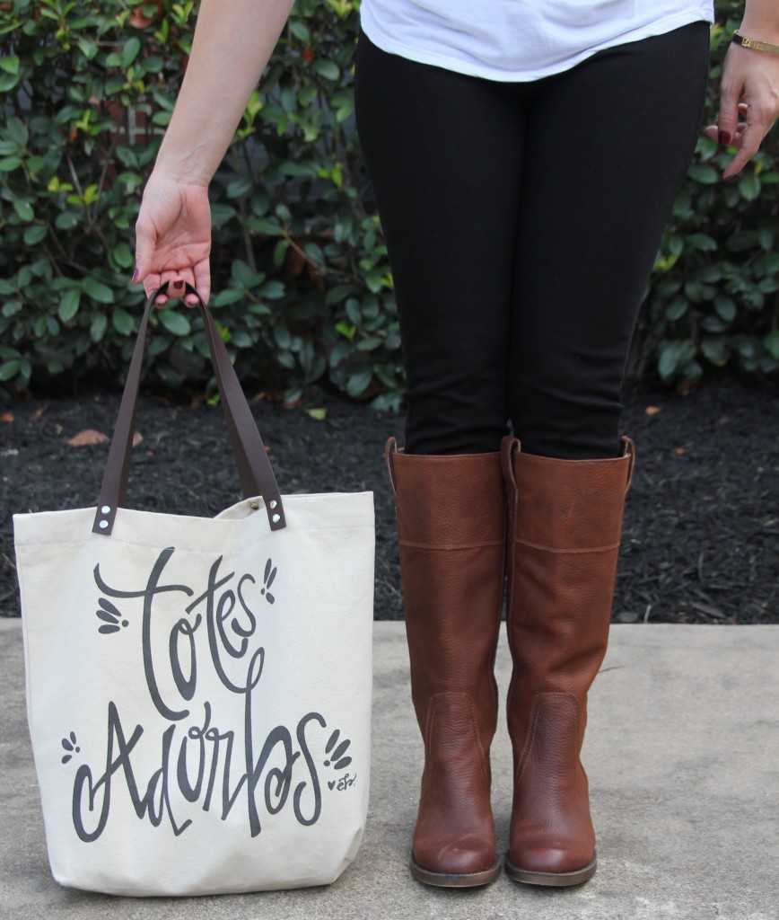 Lucky Brand Brown Boots and Canvas Tote | Lady in Violet