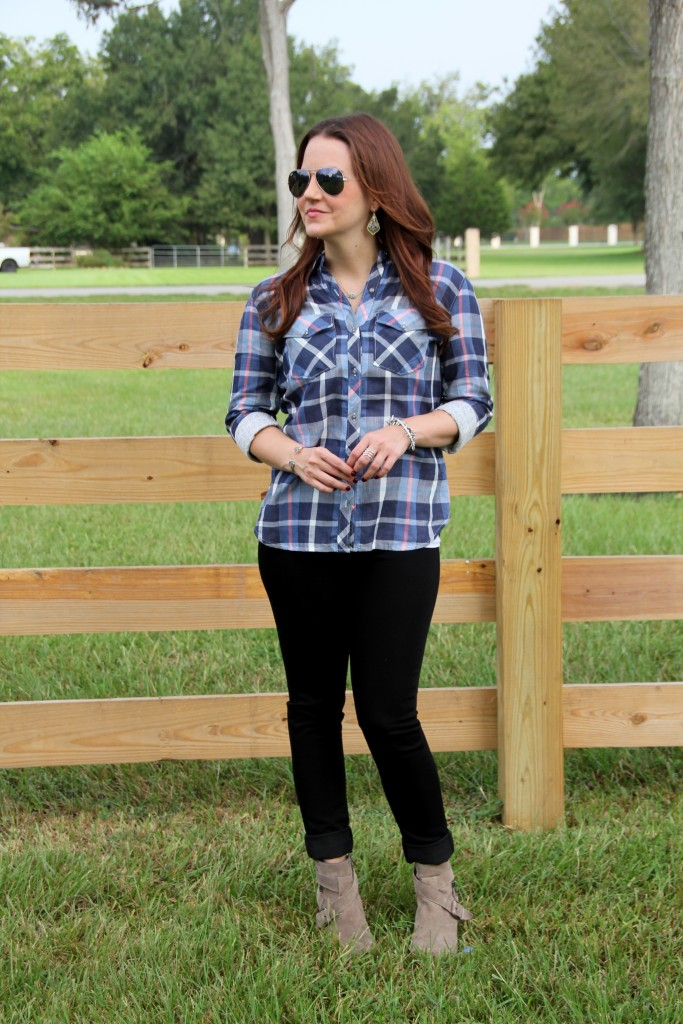 Fall Style - Plaid, Black Denim, Taupe Booties | Lady in Violet