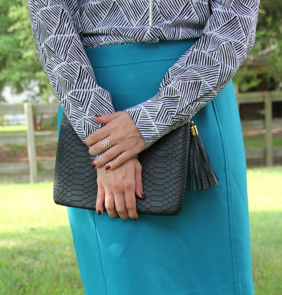 Halogen Pencil Skirt and Gigi NY Bag | Lady in Violet