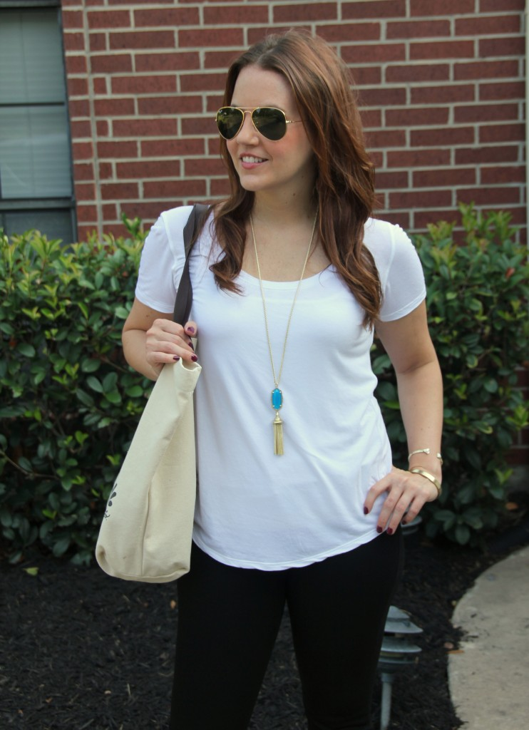 White Tee Casual Outfit | Lady in Violet