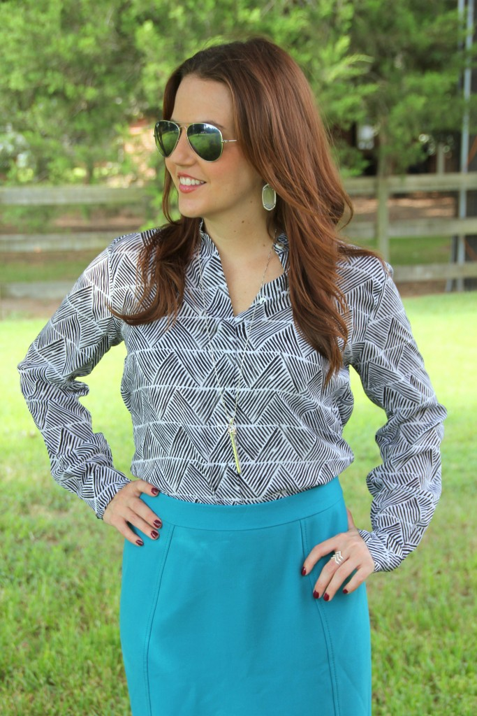 Patterned Blouse with blue pencil skirt | Lady in Violet