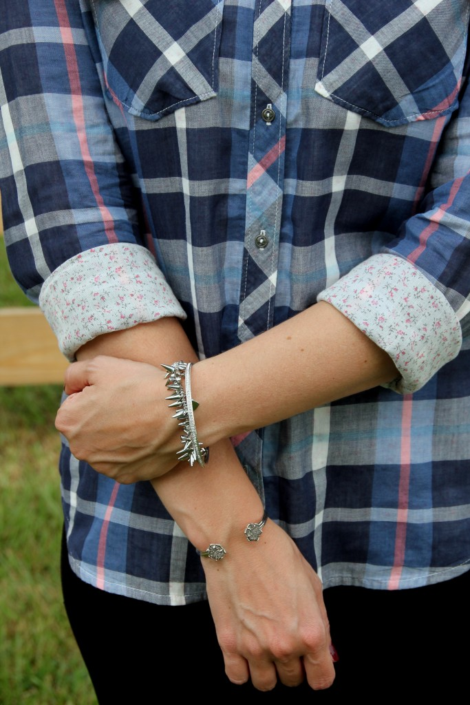 Plaid or Flannel Shirt for Fall with Silver Bracelets | Lady in Violet