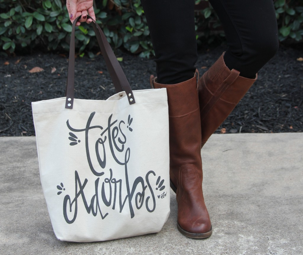 Canvas Tote Bag and Brown Tall Boots | Lady in Violet