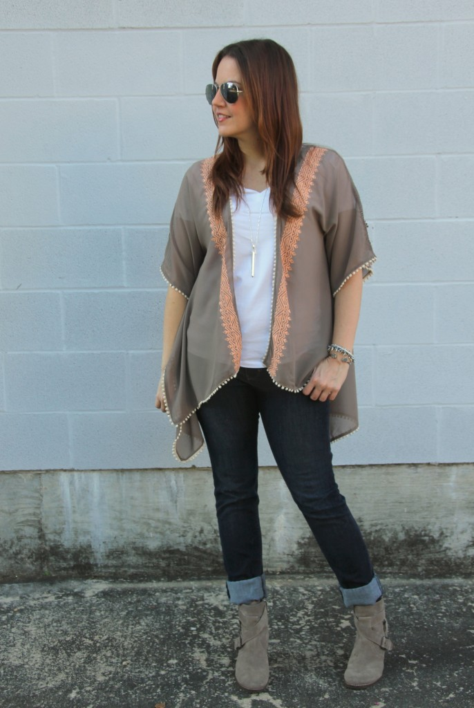 Fall Outfit - Kimono and Taupe Booties | Lady in Violet