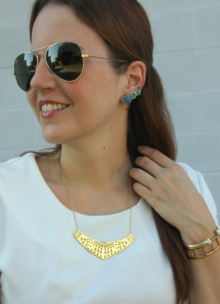 Gorjana statement necklace and kendra scott ear cuff | Lady in Violet