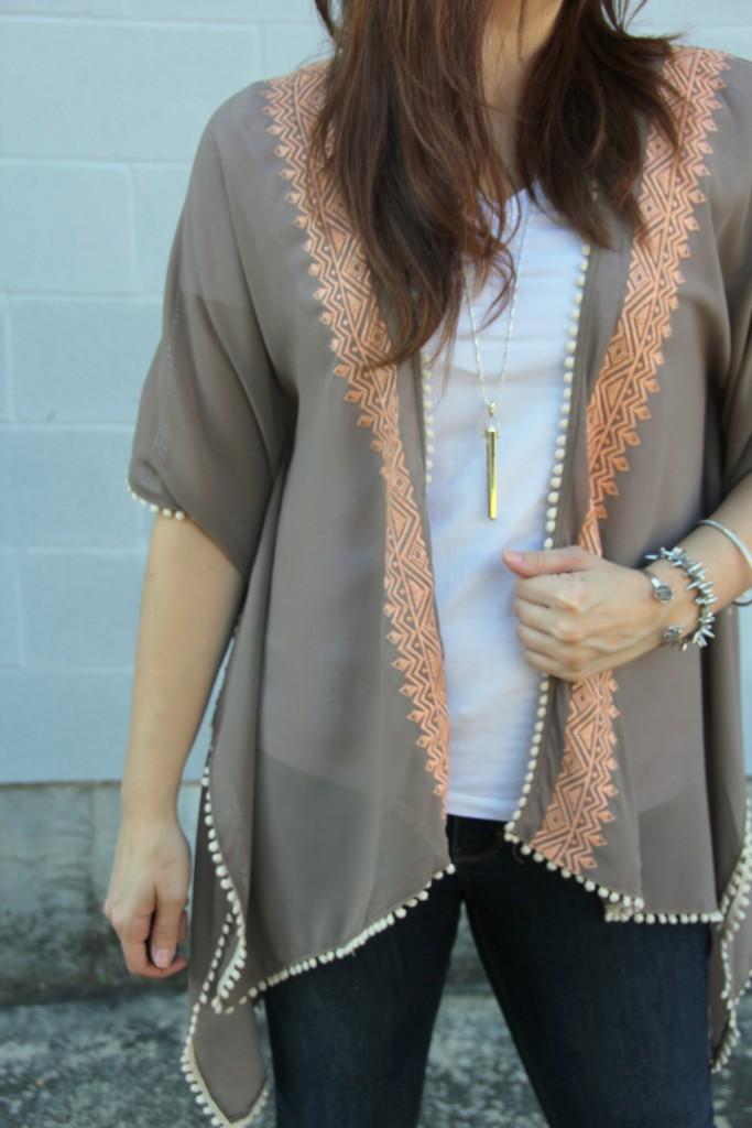 Kimono with White Tee | Lady in Violet