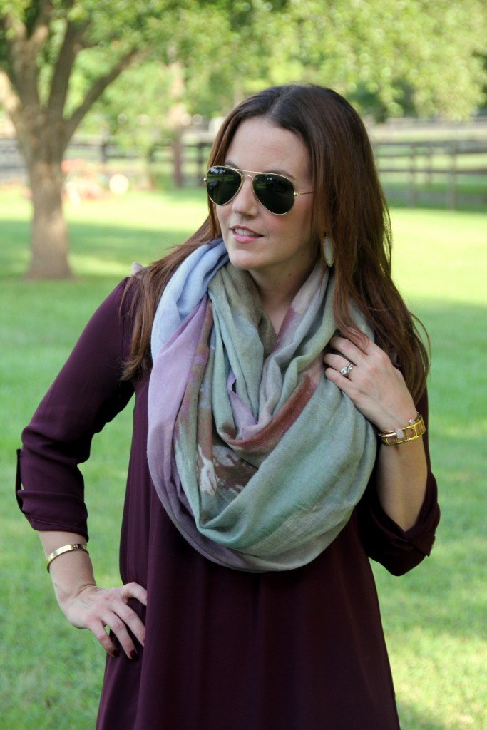 Manoosh Scarf with Wine Dress | Lady in Violet
