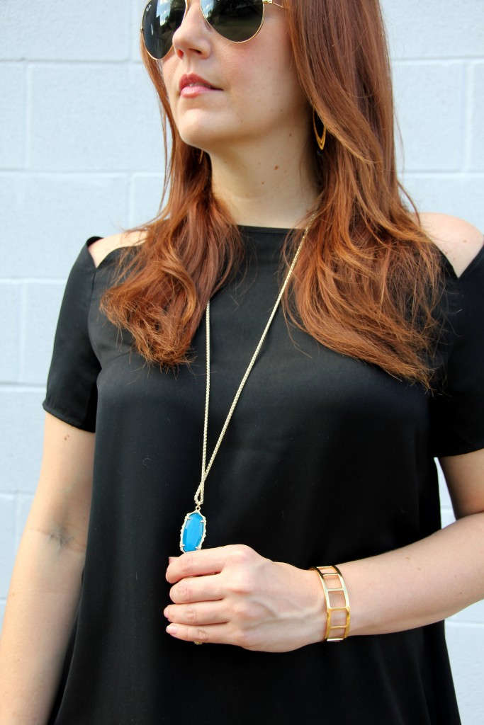 Open Shoulder top with kendra scott necklace | Lady in Violet