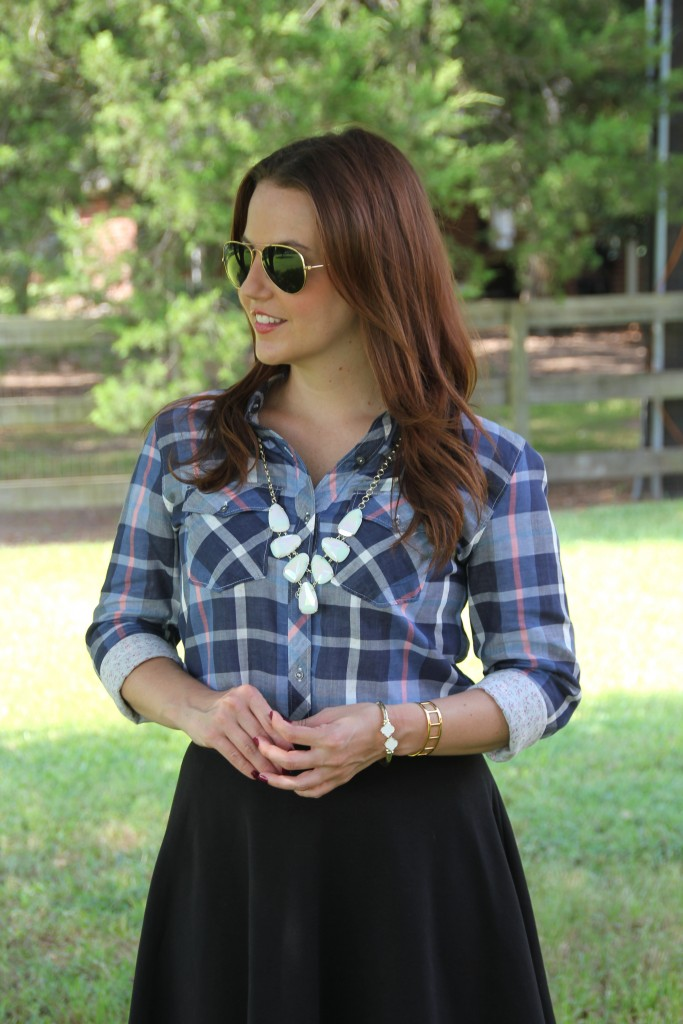 Plaid Shirt with Kendra Scott pendant necklace | Lady in Violet
