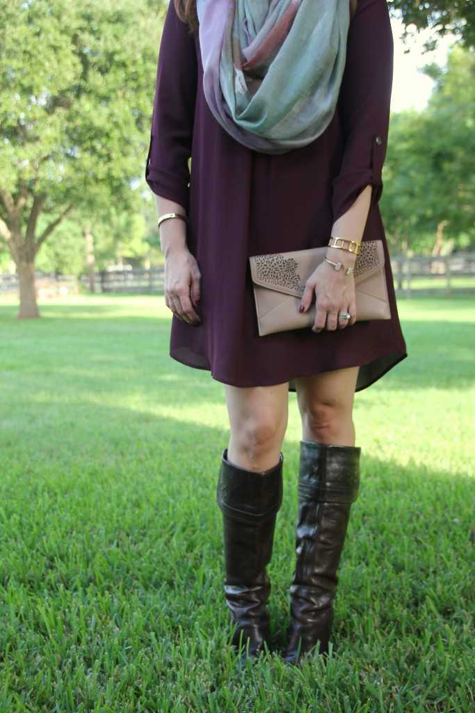 Fall Outfit - Dress, Scarf, Boots | Lady in Violet