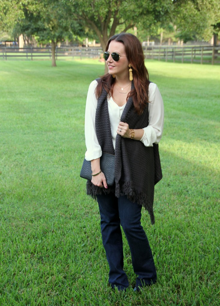Layered Fall Outfit with Sweater Vest | Lady in Violet