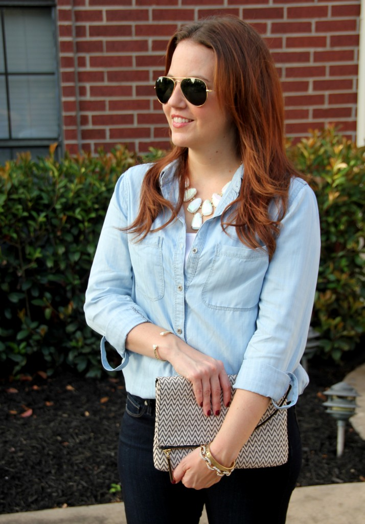 Chambray Shirt with Kendra Scott Harlie Necklace | Lady in Violet