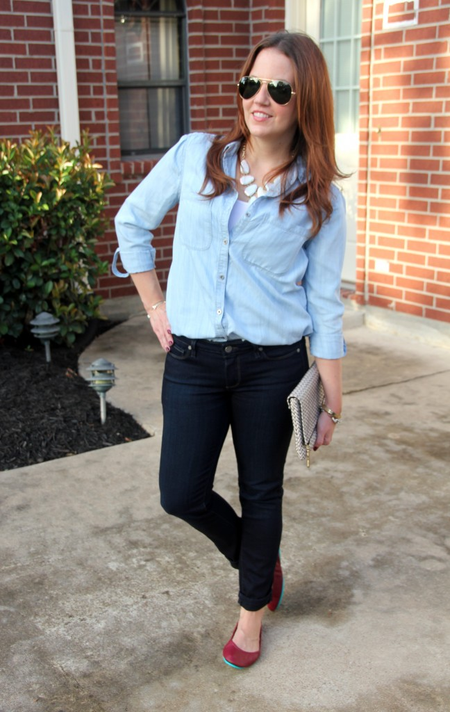 Fall Weekend Outfit - Denim and Red Flats | Lady in Violet