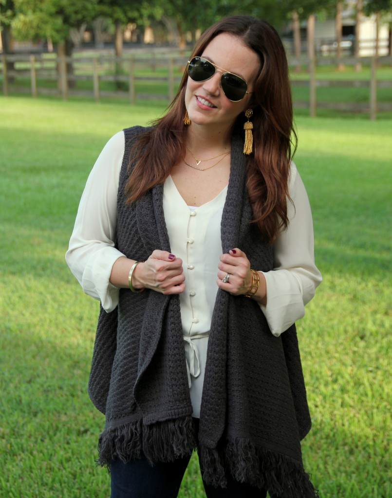 Layered Outfit with Sweater Vest | Lady in Violet