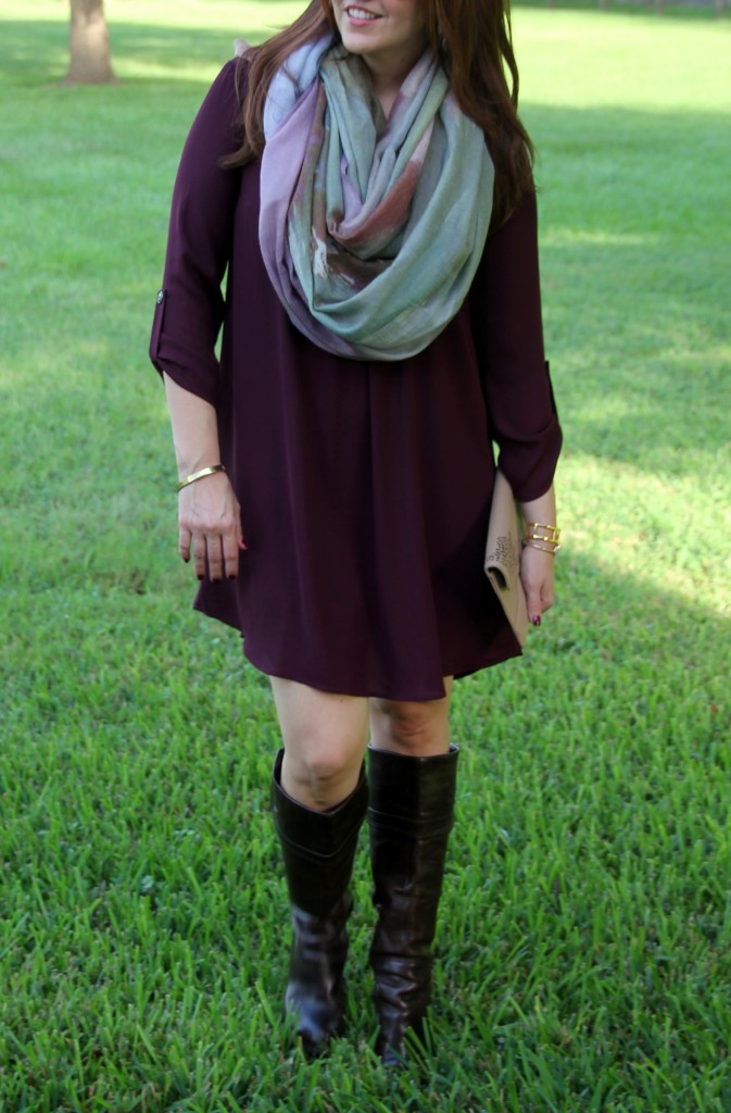 Fall Outfit - Dress, Boots, and Scarf | Lady in Violet