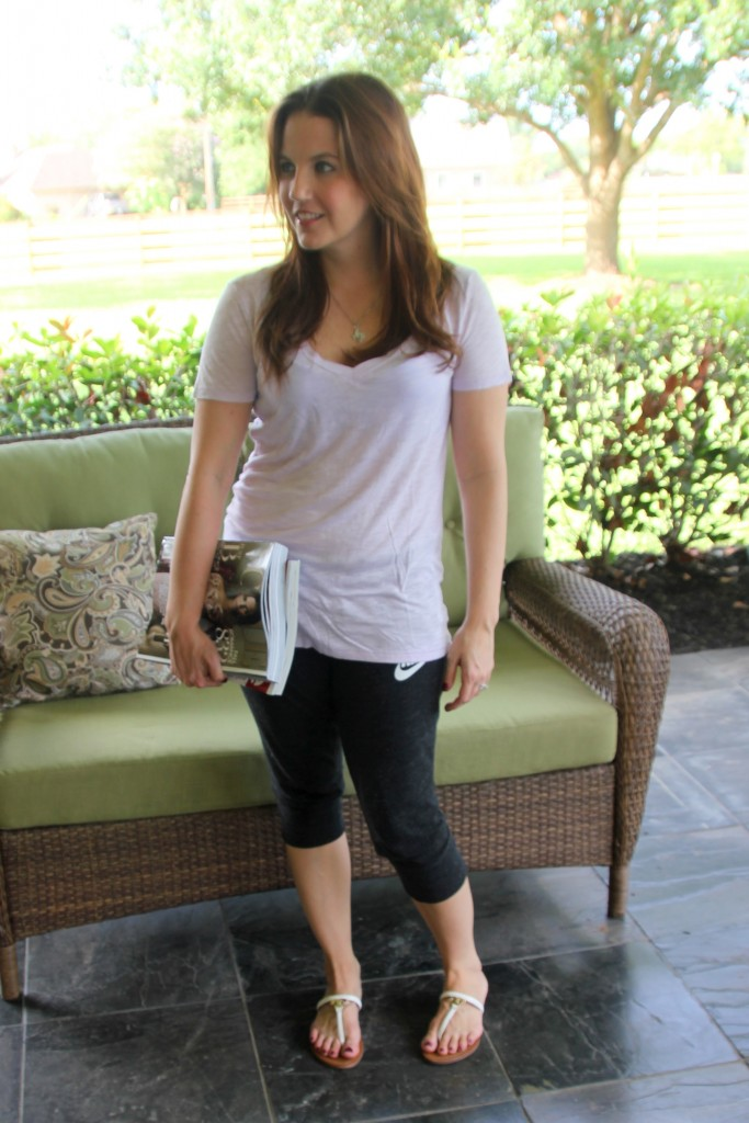 Soft V-Neck Tee and Capri Sweatpants | Lady in Violet