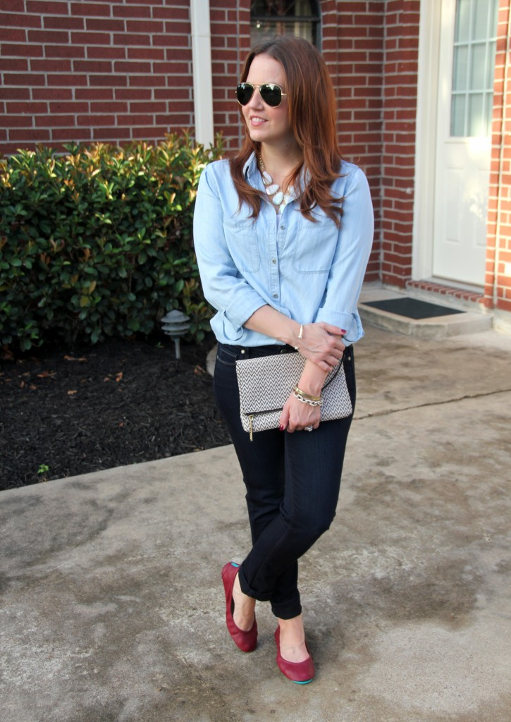 Fall Casual Outfit - Denim and Red Ballet Flats | Lady in Violet