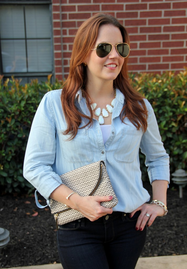 Chambray Shirt and Kendra Scott Statement Necklace | Lady in Violet