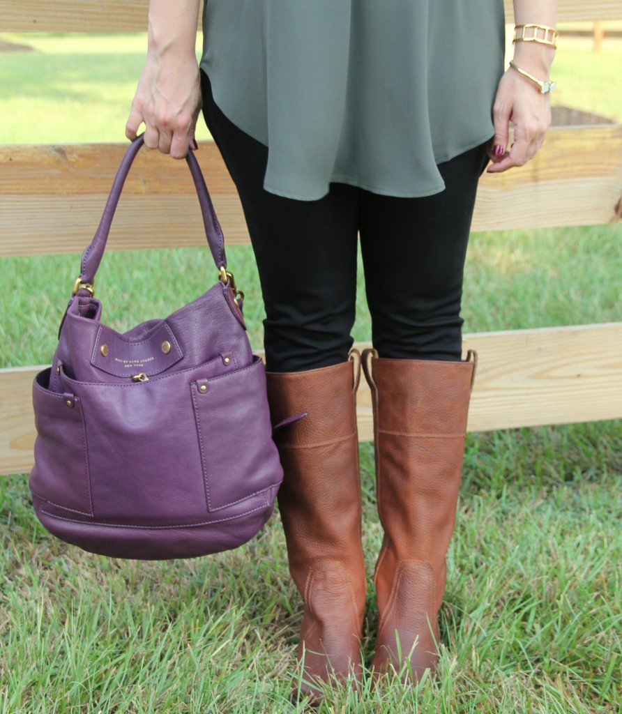 Marc Jacobs Bag and Brown Riding Boots | Lady in Violet