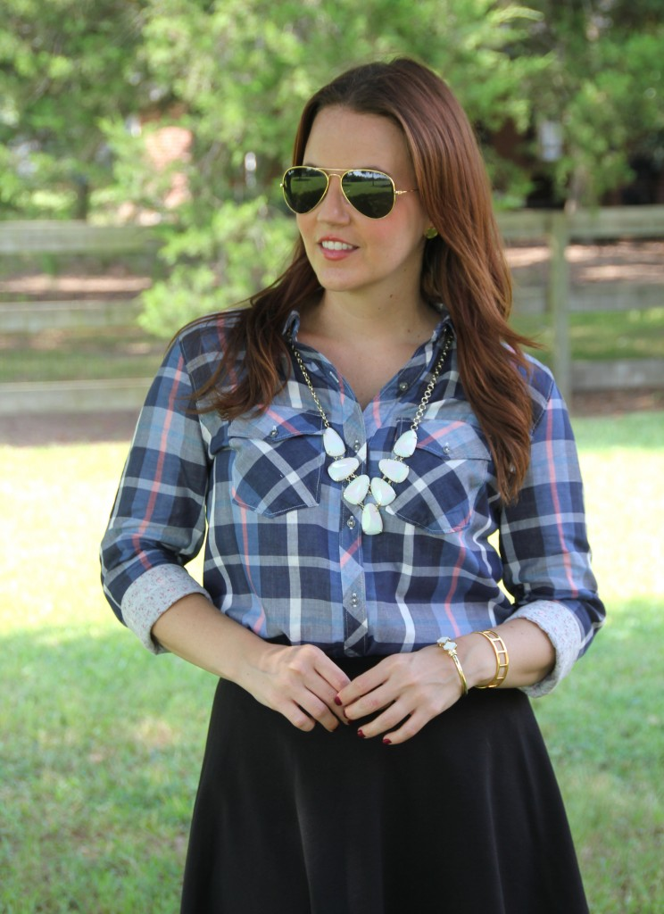 Blue Checked Shirt | Lady in Violet