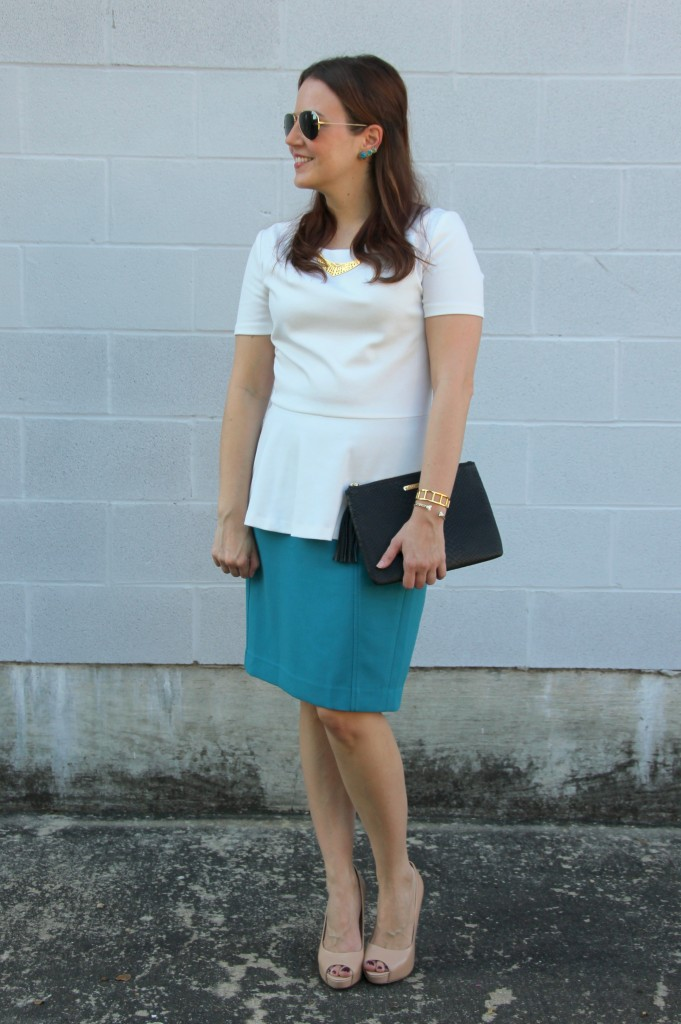 Office Outfit - Peplum Top and Pencil Skirt | Lady in Violet
