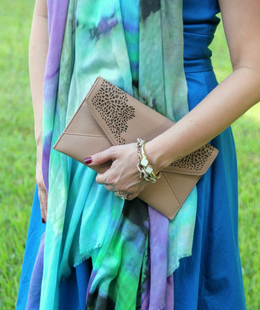 Pair a nude clutch with a colorful outfit | Lady in Violet
