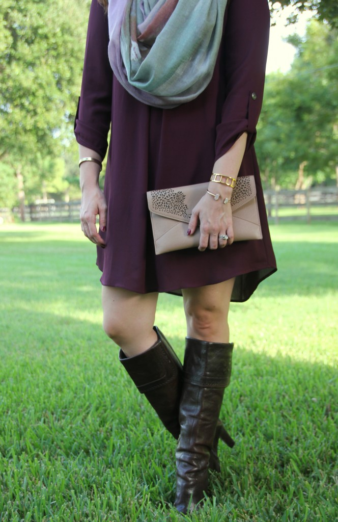 Fall Outfit Idea - Dress and Boots | Lady in Violet