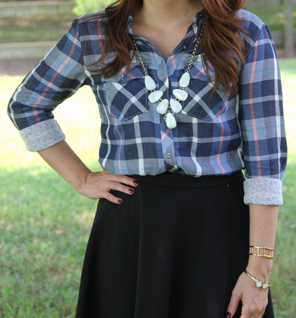 Plaid Shirt, Flared Skirt, Pendant Necklace - Casual Outfit | Lady in Violet