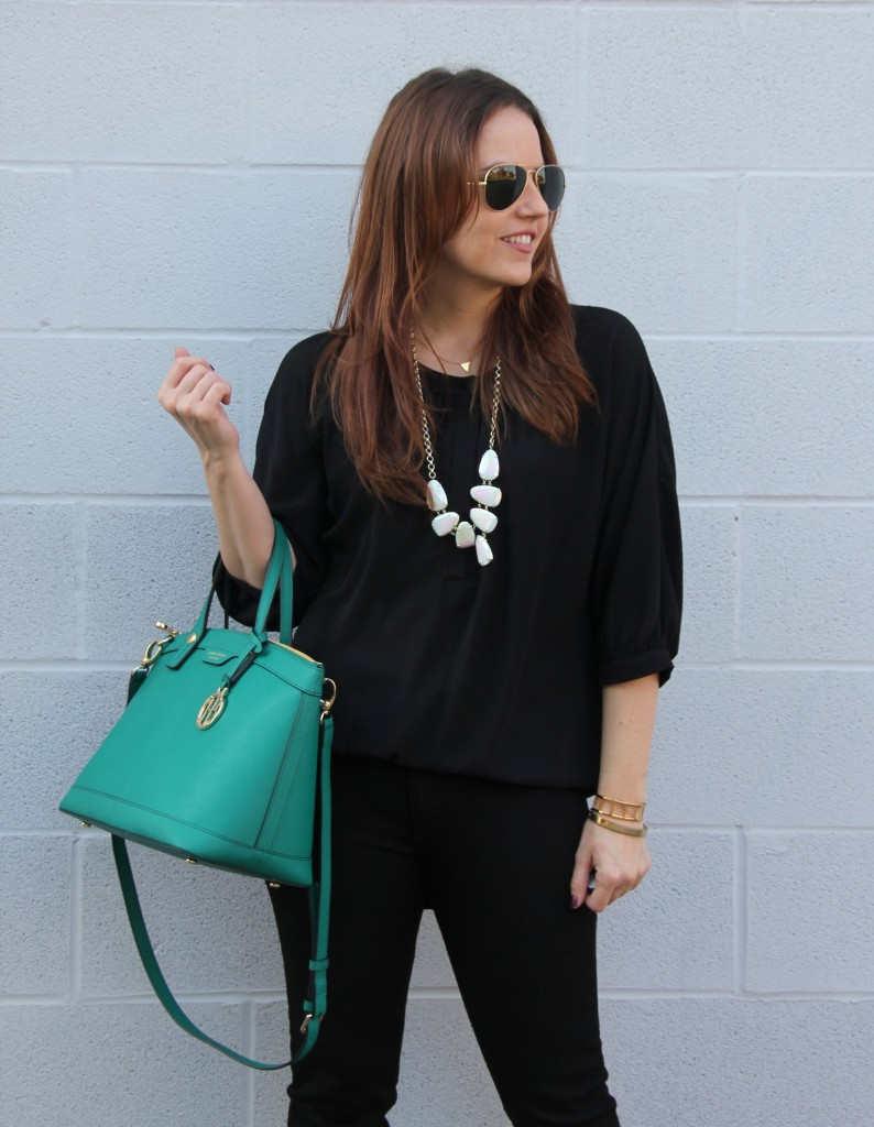 All black outfit with green satchel | Lady in Violet