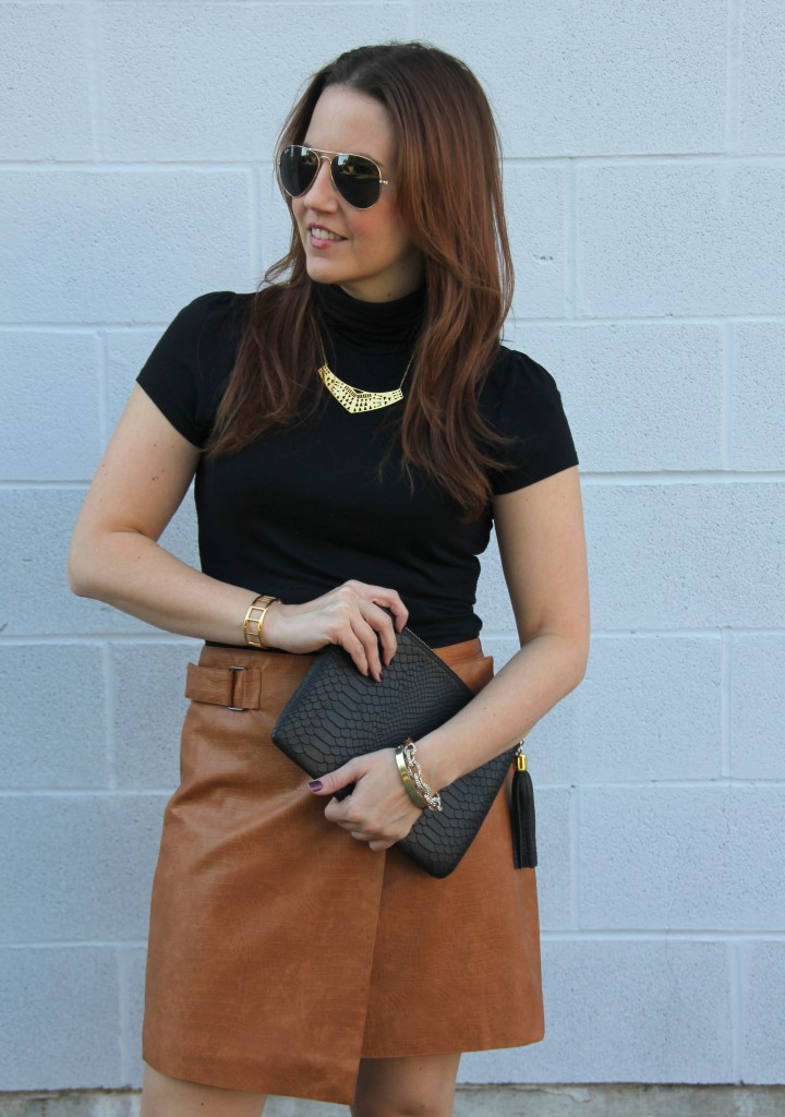 Camel Leather Skirt with Black Turtleneck | Lady in Violet