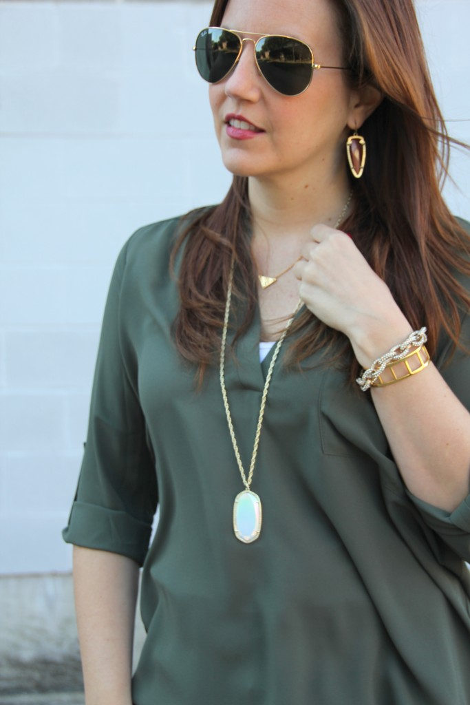 Lush Tunic in Olive, Kendra Scott Necklace | Lady in Violet