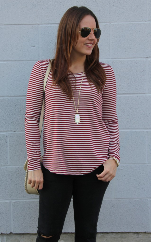 Red Striped Tee and Kendra Scott Necklace | Lady in Violet