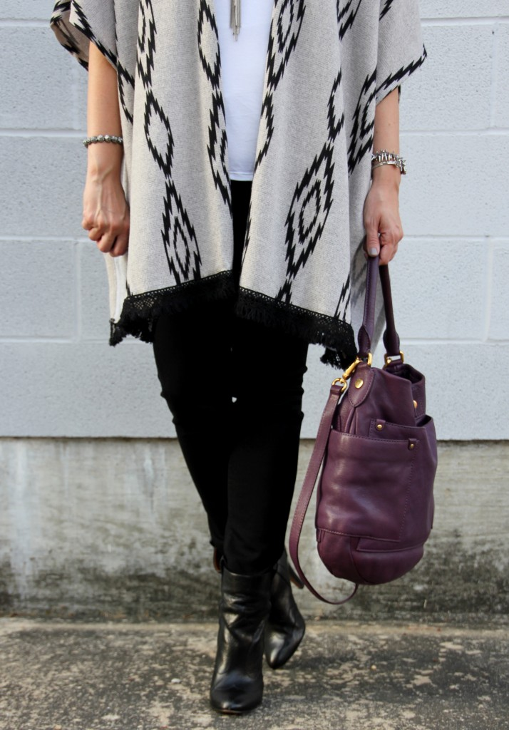 Skinny Jeans, Booties, and a poncho, outfit idea | Lady in Violet