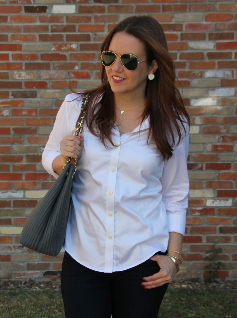 How to Style A White Button down shirt | Lady in Violet