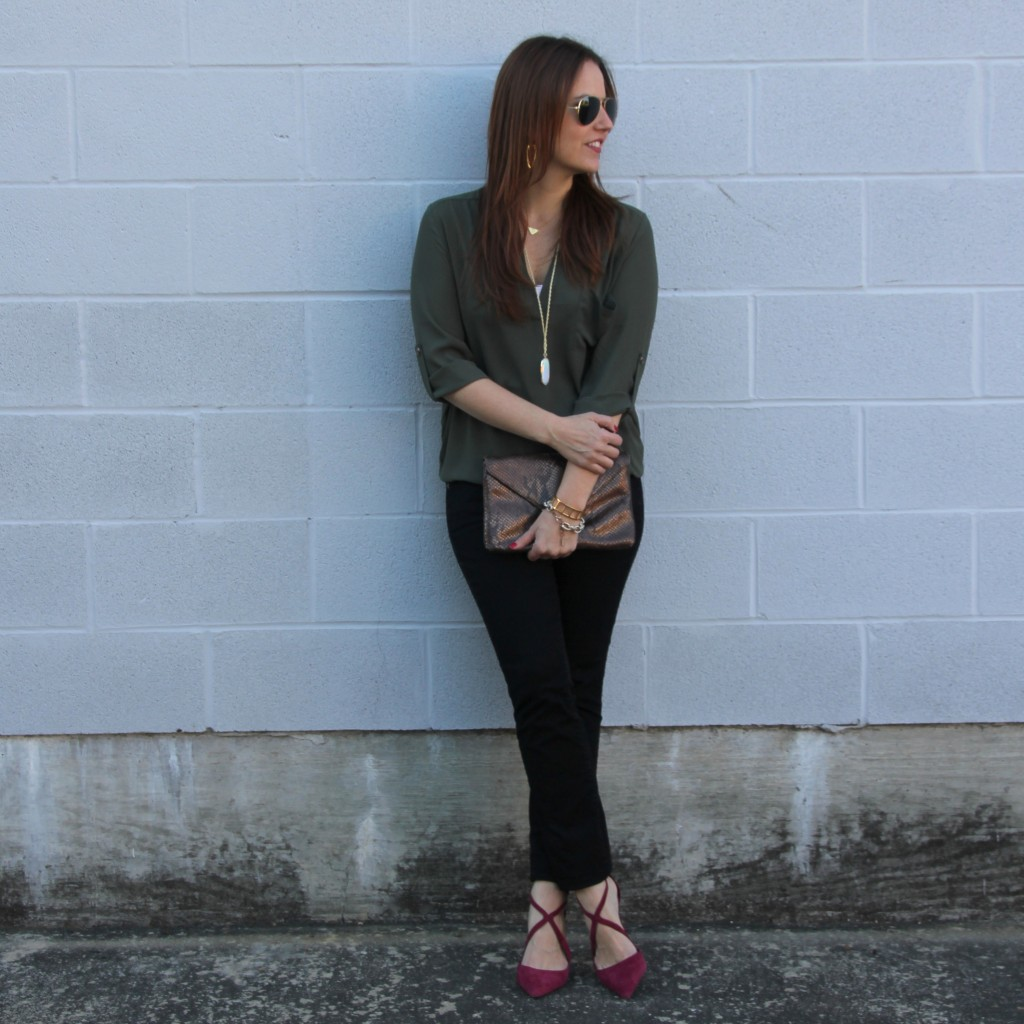 Fall Outfit - Tunic and Skinny Jeans with Heels | Lady in Violet