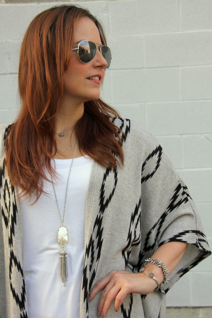 Poncho, White Tee, and Pendant Necklace | Lady in Violet