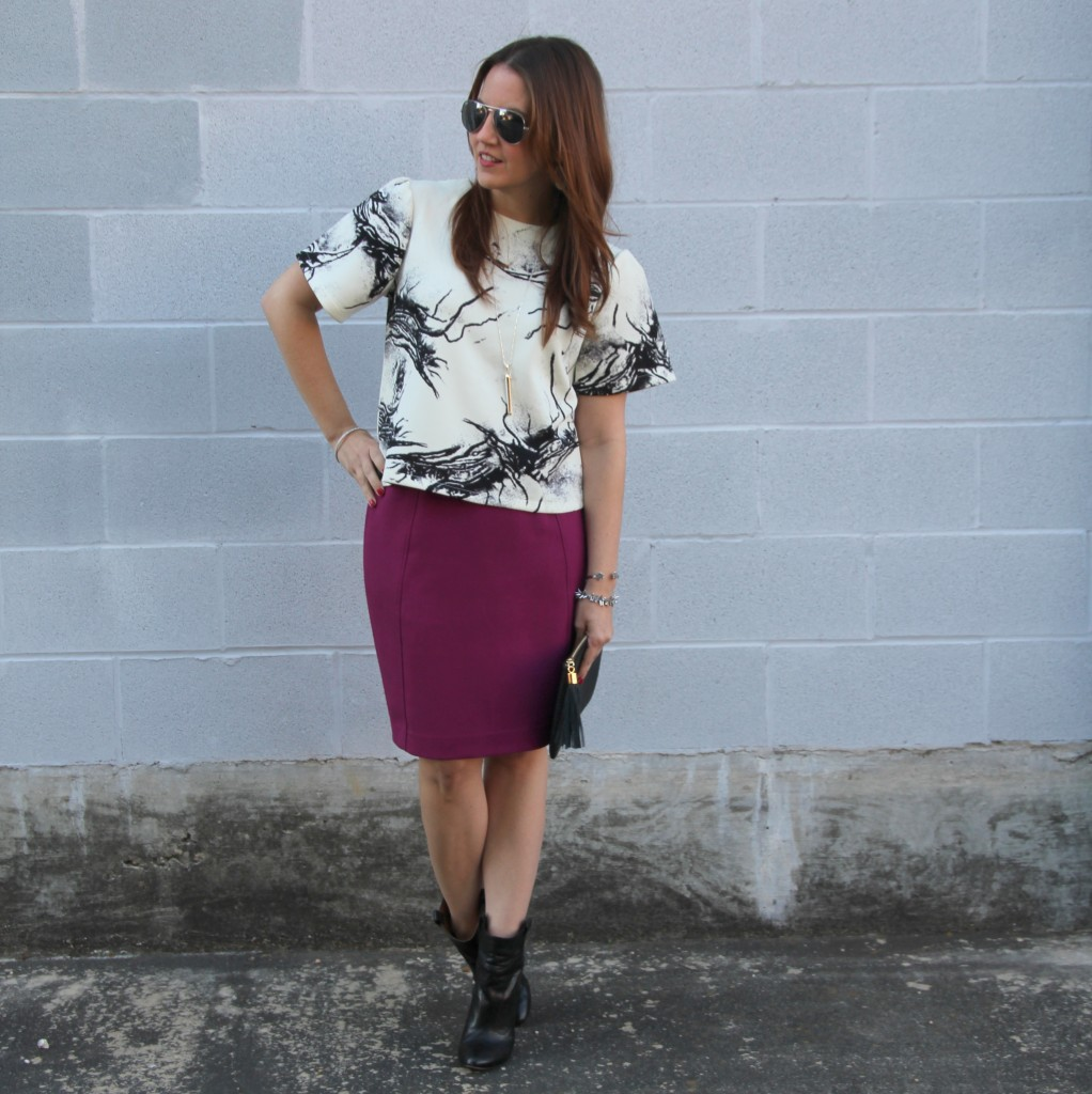 Work Outfit Idea with Pencil Skirt | Lady in Violet