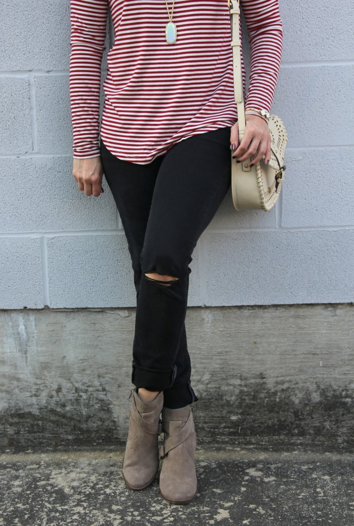 Distressed Jeans and Taupe Booties | Lady in Violet
