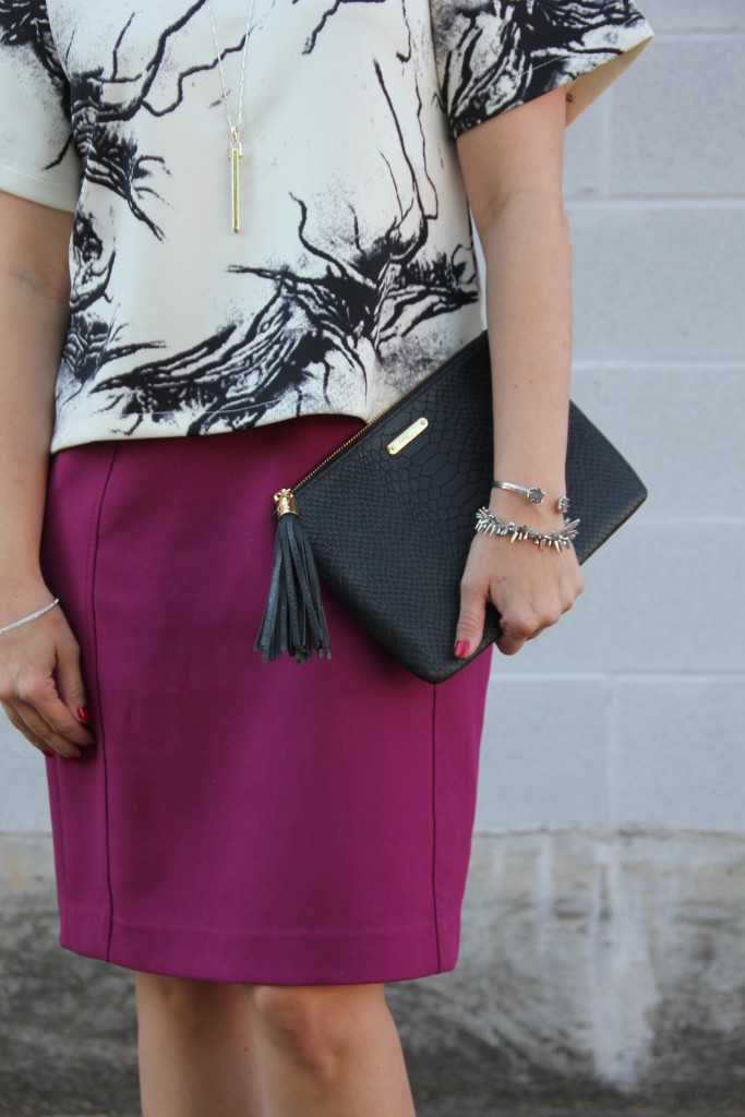 Pink Pencil Skirt and Gigi NY Bag | Lady in Violet