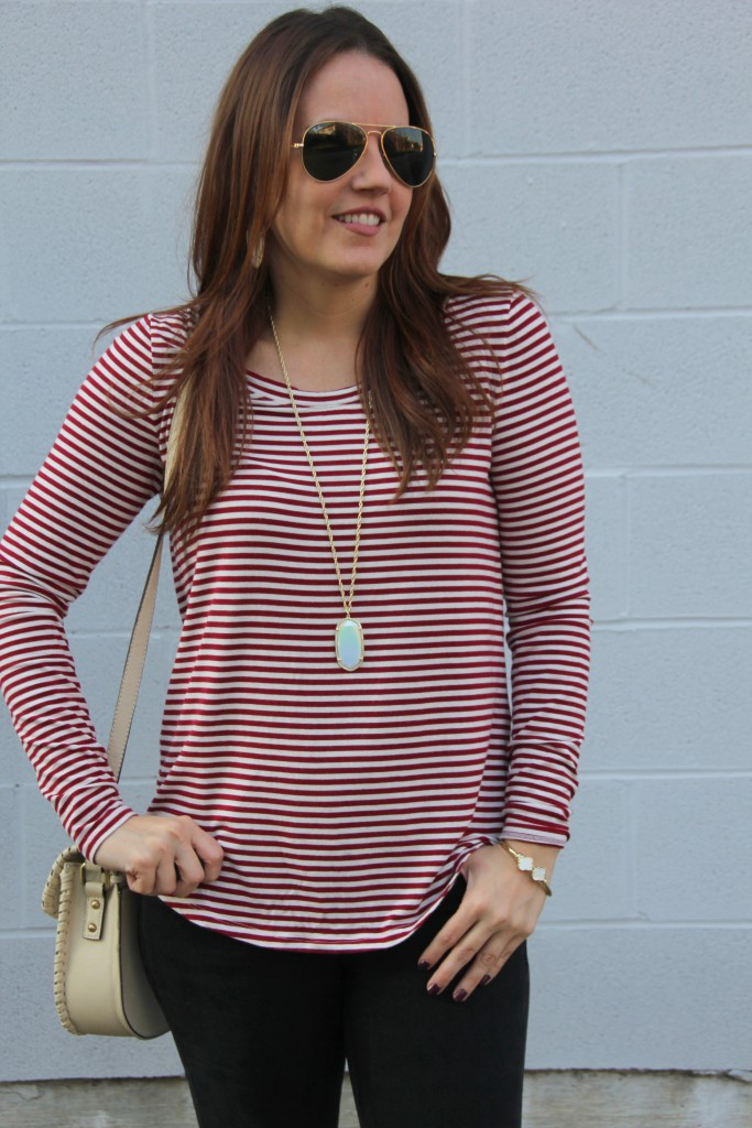 Banana Republic Red Striped Tee | Lady in Violet